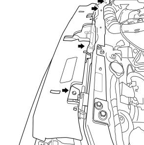 خارهای اتصال فوقانی و تحتانی را طبق شکل با پیچ گوشتی باز کنید (چهار عدد بالا و دو عدد پایین) برای باز کردن آنها با سر پیچ گوشتی دو سو را از بالا به انتهای خارها فشار وارد کنید تا آزاد شوند. برای دسترسی به دو خار پایین از دو شکاف بالای جلوپنجره استفاده کنید