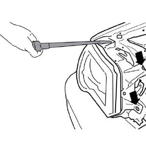 به وسیلهی آچاربکس پیچهای مشخص شده را خارج نمایید و مجموعهی چراغ را به بیرون بکشید. حال با برداشتن درپوش پلاستیکی از پشت چراغ و خارج کردن مجموعهی لامپ و سوکت از سر جای خودشان، لامپ را از سوکت جدا کنید و لامپ جدید را جا بزنید، دقت کنید که خار لامپ و فنر به درستی در جایخود قرار بگیرند